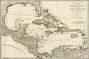 Poster, Many Sizes Map Of West Indies Cuba Florida Mexico 1774 P1