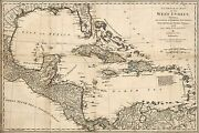 Poster, Many Sizes Map Of West Indies Cuba Florida Mexico 1774 P2