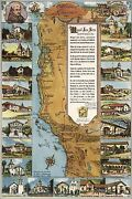 Poster, Many Sizes Map Of California Missions 1949