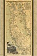 Poster Many Sizes Map Pacific Coast Steamship Co. Routes 1891