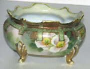 Nippon Hand Painted Blue Maple Leaf Mark Bowl Scalloped Edges Footed Gold Leaf