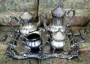 Towle Silverplate Large Tray, Coffee And Tea Service, Creamer And Covered Sugar Bowl