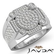 1.20ct Designer Hip Hop Cluster Menand039s Diamond Micro Pave Setting Gold Ring