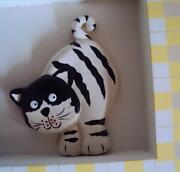 Kitty Cat Art Hand Crafted Framed Shadow Box Unique Black And White Cat Picture