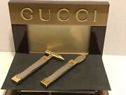 Vintage Gold And Silver Letter Opener And Paper Weight Set - Desk - Euc