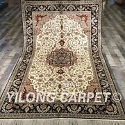 Yilong 5and039x8and039 Antique Handmade Silk Antique Style Carpets Hand-knotted Rugs 046m
