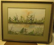 Wonderful Watercolor Landscape By Carl Griffin Dated 1979 With Bio On Back