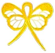 Gold Yellow Awareness Pin Bling Ribbon Butterfly Childhood Cancer Cause New
