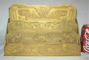 Antique Studios Ny Solid Gold Bronze Lg Chinese Letter Paper Rack Holder