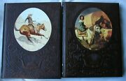 Lot Of 2 Hbs Time Life Old West Series Embossed Cowboys Women Home Decor Set