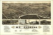 Poster Many Sizes Panoramic Map Mt. Clemens Michigan 1881