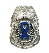 Blue Awareness Ribbon Pin Police Badge Security Sheriff Silver Cancer Causes New