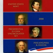 2008 1 P And D Us Mint Presidential Dollar Coin Uncirculated Set - Opened
