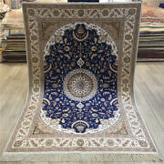 Yilong 4and039x6and039 Blue Handmade Home Carpets Hand Knotted Classic Silk Area Rugs 029c