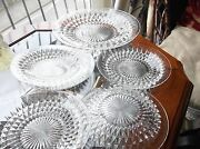Vintage Clear Heavy Sparkle Glass Cake / Bread And 5 Side Plates Uv Green Glow