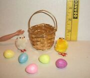 Fashion Doll Miniature Ooak Easter Basket Chick And Eggs Accessory Lot