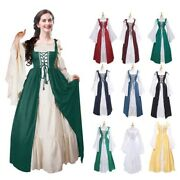 Fashion Women Middle Ages Style Vintage Long Two-piece Dress Ruffle S-5xl 9999