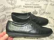 Easy Spirit Anti Gravity Motion Black Croc Leather Lace Loafer Shoes Size 10 N