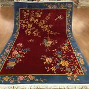 Yilong 5.5and039x8and039 Red Handmade Wool Carpet Chinese Art Deco Floral Scene Rug Tj002s
