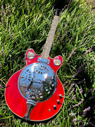New Custom 6 String Trans Red Resonator Jazz Acoustic Electric Guitar