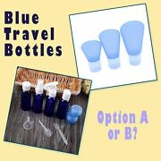 Variety Of Blue Empty Refillable Travel Size Cosmetic Lotion And Perfume Bottle