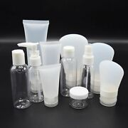 Variety Of Empty Travel Cosmetic Lotion And Perfume Bottles Set In White