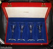 Impeccable Super Rare Set Of 4 Signed Goblets New In Box Glasses Nos Art