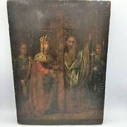 Rare Early Russian 19th Century Icon Of Emperor Constantine And The True Cross