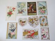 Antique Post Card 1909 One Cent Stamp Us Postage Franklin Lot Valentines Day