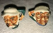 Mcm Vintage Salt And Pepper Shakers - Tiny Toby Mugs - Cork Stoppers Made In Japan