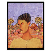 Angel Abraham Self Portrait Naive Style Painting Framed Wall Art Poster