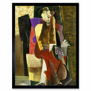 Weber The Cellist Abstract Cubism Painting Art Print Framed 12x16