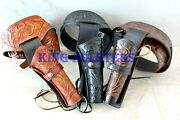 New 44/45 Cal Tooled Holster Gun Belt Drop Loop Leather Western Rig Sass Cowboy
