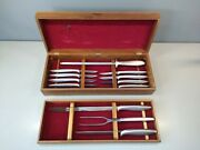 1950and039s Vintage Gerber Legendary Blades 12 Piece Knife/ Carving Set In Wood Boxes