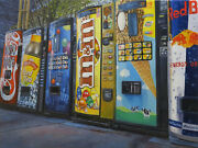 Modern Art Oil Painting Small Canvas Signed Consumerism New York City Landscape