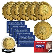 Donald Trump 2020 Keep America Great 24k Gold Plated Commerative Coin Lot Of 5