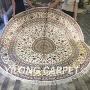 Yilong 8and039x8and039 Large Circle Hand Knotted Silk Carpets Beige Round Area Rug W144c
