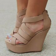 Womenand039s Wedge High Heels Sandals Platform Open Toe Cross Strap Casual Shoes Size