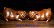 Old Chinese Folk Feng Shui Boxwood Wood Carved Happy Year Zodiac Pig Statue Pair