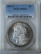 1887-s Morgan Silver Dollar Pcgs Ms63+ Free S/h After 1st Item