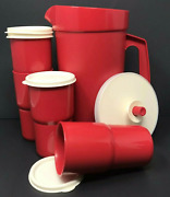 Tupperware Classic 2 Qt Pitcher Push Button + 4 Stacking Tumblers Set Red New