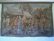 Antique Gobelins Tapestry Of Medieval Market Scene Woven Early 1920and039s - 1940and039s