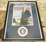 Bill Clinton Signed Autographed Rolling Stone Mag Framed Display Jsa Certified