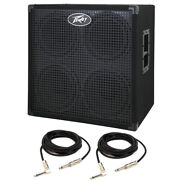 Peavey Headline 410 4x10 Bass Amp Cabinet With 15and039 Instrument Cables