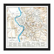 Map Antique Historic 1870 Ancient Rome City Plan Replica Square Framed Wall Art