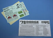 Mpc 1978 Dodge D100 Pickup Decals Instructions 2019 Release 1/25 Scale