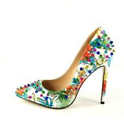 Women Floral Pump Rivet Pointy Toe High Heel Spikes Shoes Slip On Court Stiletto
