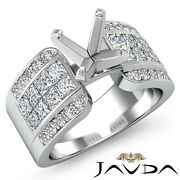 1.14ct. Round And Princess Pave Set Diamond Engagement Invisible Setting Ring