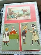 5 Pub Postcards And 1 Trade Card 1895 Grootes Cocoa Chocolate Cooks Kitchen Cat