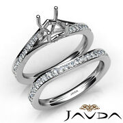 Pave Diamond Engagement Ring Round Semi Mount Knife Edge Bridal Sets 0.90ct.